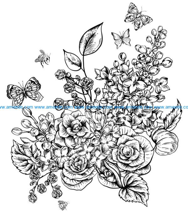 Roses with butterflies and bees file cdr and dxf free vector download for laser engraving machines