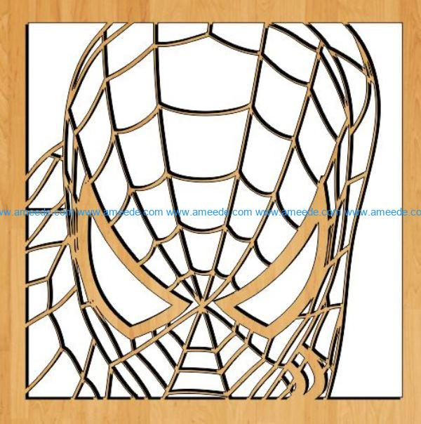Spiderman face file cdr and dxf free vector download for Laser cut