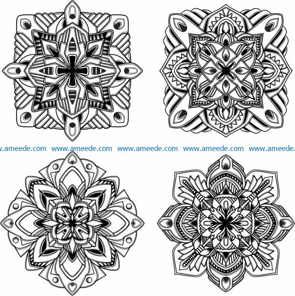 Square mandala flower pattern file cdr and dxf free vector download for laser engraving machines