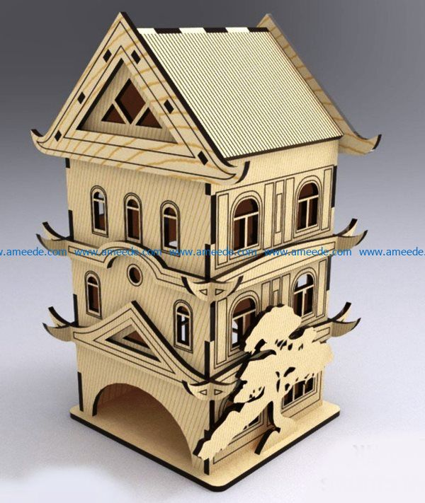 Tea House Pagoda file cdr and dxf free vector download for Laser cut