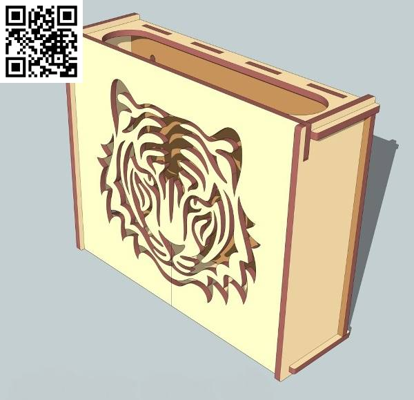 Tiger box file cdr and dxf free vector download for Laser cut