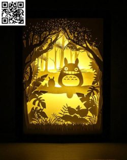 Totoro light paintings file cdr and dxf free vector download for Laser cut