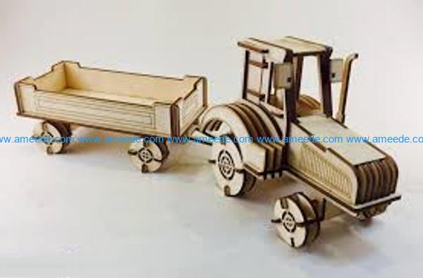 Tractor with trailer file cdr and dxf free vector download for Laser cut