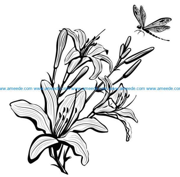 Tuberose with dragonfly file cdr and dxf free vector download for laser engraving machines