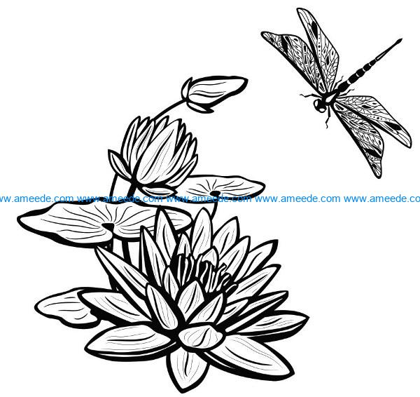 Water lily with dragonfly file cdr and dxf free vector download for laser engraving machines