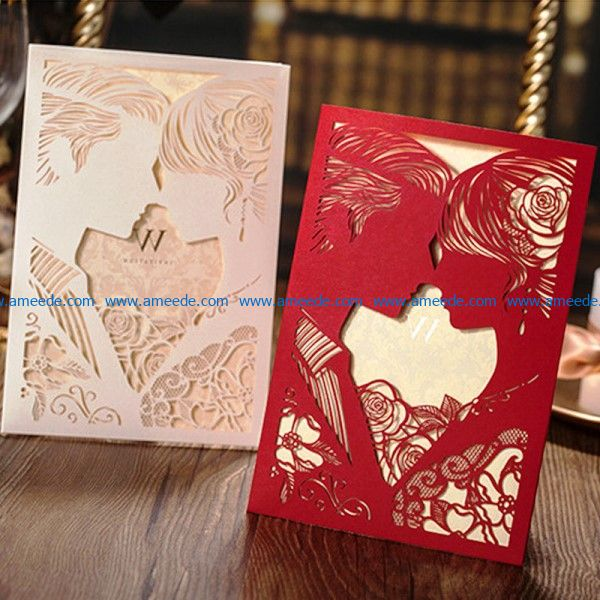 Wedding invitation file cdr and dxf free vector download for Laser cut