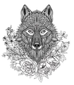 Wolf with flower file cdr and dxf free vector download for laser engraving machines