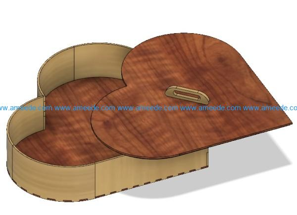 Wooden heart box file cdr and dxf free vector download for Laser cut