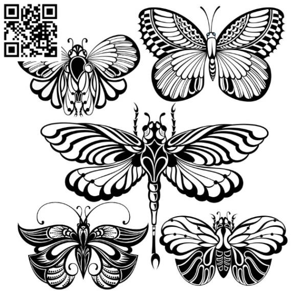 butterfly collection file cdr and dxf free vector download for laser engraving machines