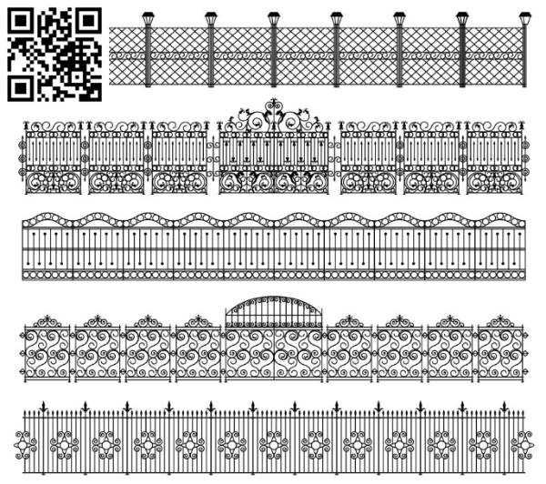 gates and iron fences file cdr and dxf free vector download for Laser cut CNC