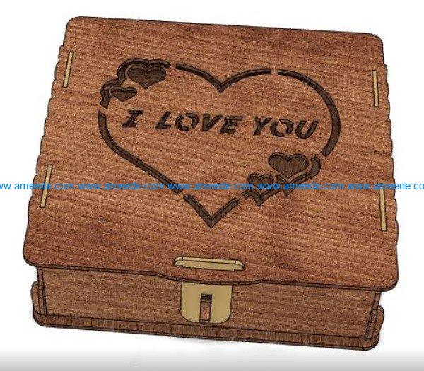 i love you box file cdr and dxf free vector download for Laser cut