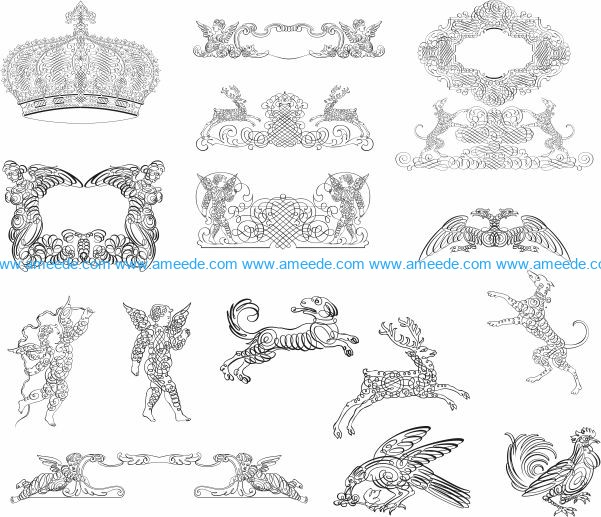 kalligrafi elements file cdr and dxf free vector download for laser engraving machines