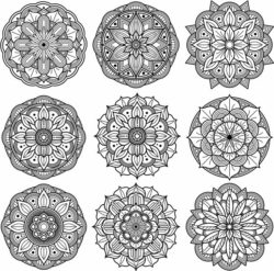 mandala set file cdr and dxf free vector download for Laser cut