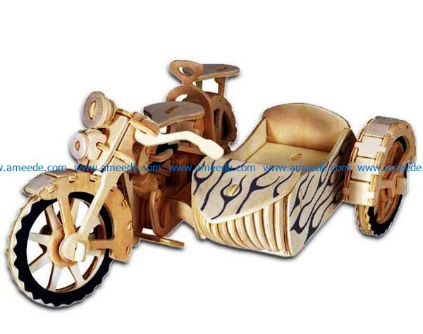 motorcycle with sidecar file cdr and dxf free vector download for Laser cut