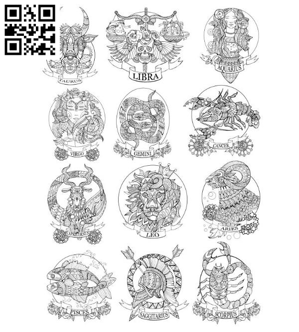 12 signs of the zodiac file cdr and dxf free vector download for laser engraving machines