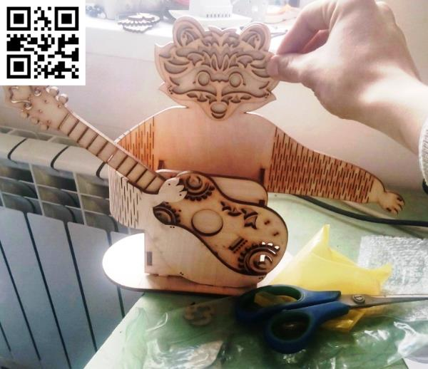 Raccoon with Guitar file cdr and dxf free vector download for Laser cut