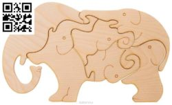 elephant puzzle file cdr and dxf free vector download for Laser cut
