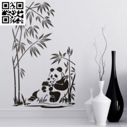 Panda decorating the living room wall file cdr and dxf free vector download for Laser cut
