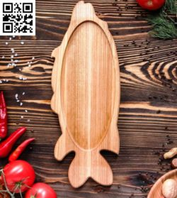 Wooden Platter Fish file cdr and dxf free vector download for Laser cut