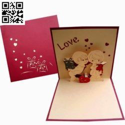 3D Love card file cdr and dxf free vector download for Laser cut