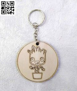 Groot key chain file cdr and dxf free vector download for laser engraving machines