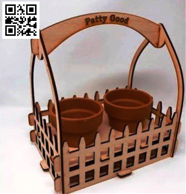 Basket of flower pots file cdr and dxf free vector download for Laser cut