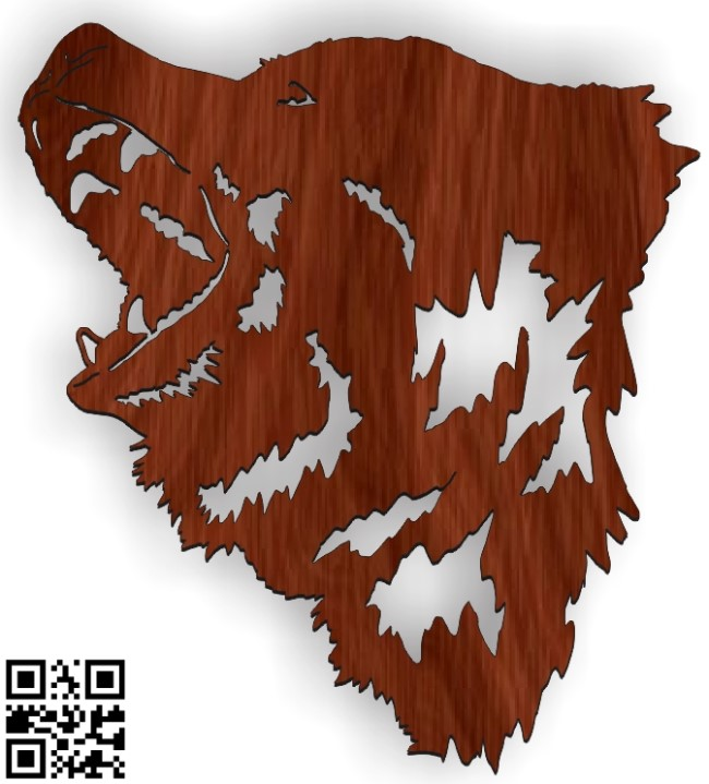 Bear head file cdr and dxf free vector download for Laser cut Plasma