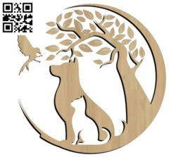 Cat dog and bird file cdr and dxf free vector download for Laser cut