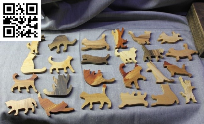 Cat puzzle set file cdr and dxf free vector download for Laser cut