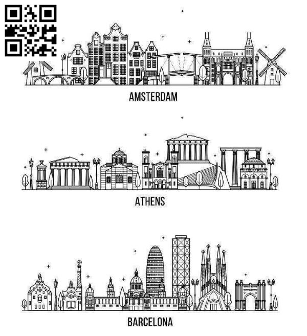 European city file cdr and dxf free vector download for laser engraving machines