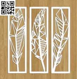 Feather Set file cdr and dxf free vector download for Laser cut