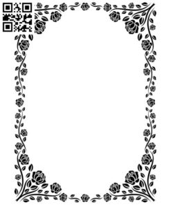 Frame decorated with roses file cdr and dxf free vector download for laser engraving machines