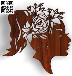 Girl with flowers on her head file cdr and dxf free vector download for Laser cut