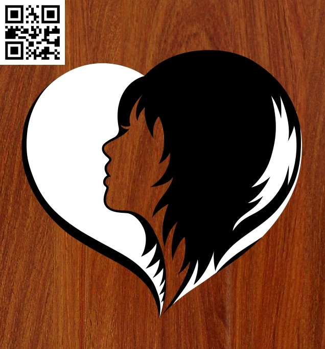 Heart with beautiful girl file cdr and dxf free vector download for Laser cut