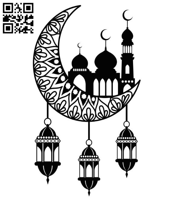 Moon with mosque file cdr and dxf free vector download for Laser cut