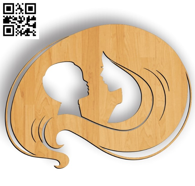 Mother's hair file cdr and dxf free vector download for laser engraving machines