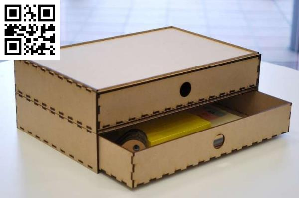 Organized box with two compartments file cdr and dxf free vector download for Laser cut