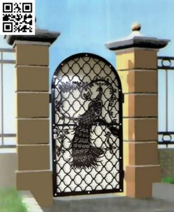 Peacock iron gate file cdr and dxf free vector download for Laser cut Plasma