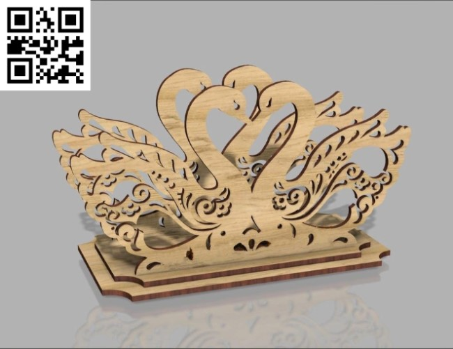 Swans napkin holder file cdr and dxf free vector download for Laser cut