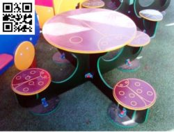 Table with 4 seats file cdr and dxf free vector download for Laser cut