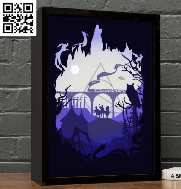 Harry Potter light box file cdr and dxf free vector download for Laser cut