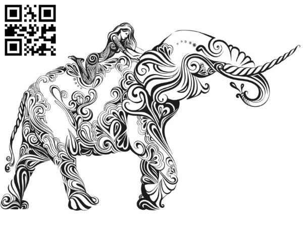 the girl on the elephant file cdr and dxf free vector download for laser engraving machines
