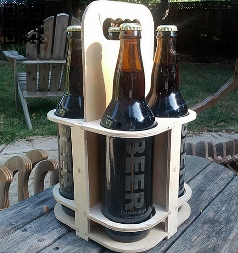 Beer Caddy E0010558 file cdr and dxf free vector download for Laser cut