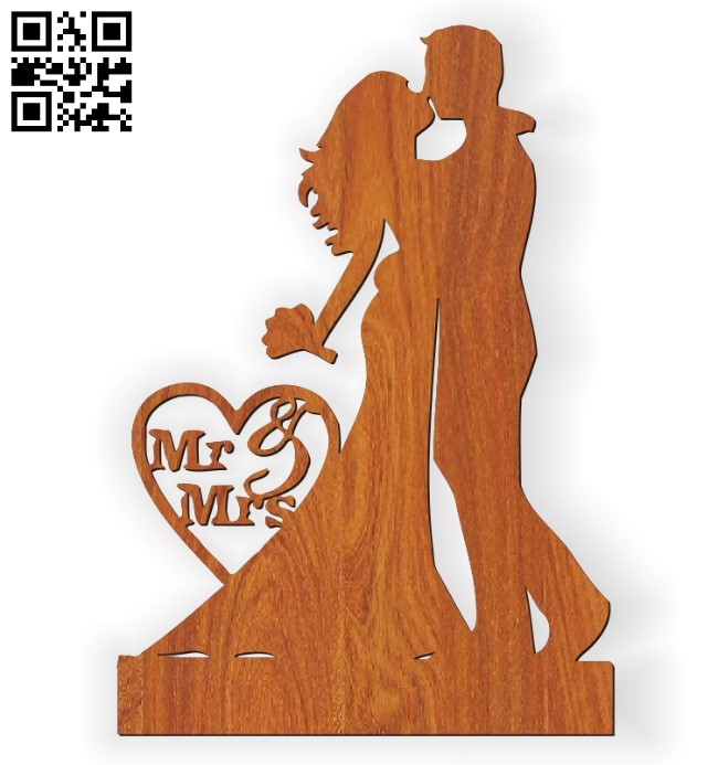 Bride and groom statue E0010562 file cdr and dxf free vector download for Laser cut