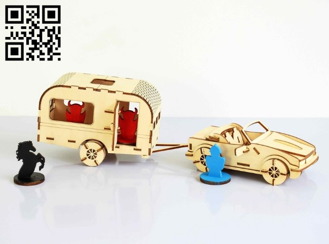 Car and Caravan file cdr and dxf free vector download for Laser cut