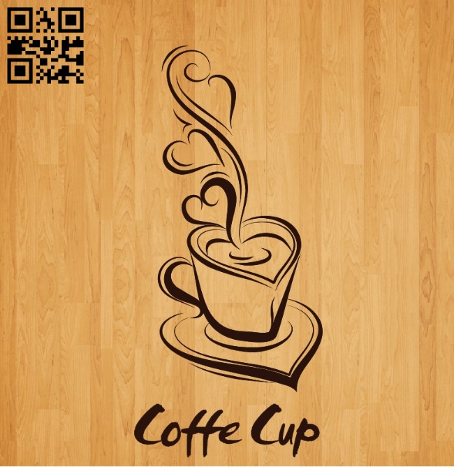 Coffe cup E0010455 file cdr and dxf free vector download for laser engraving machines