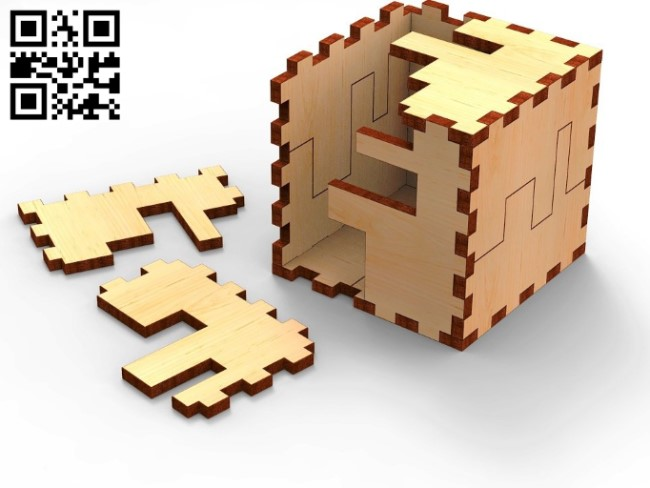 Cube 3D puzzle E0010548 file cdr and dxf free vector download for Laser cut