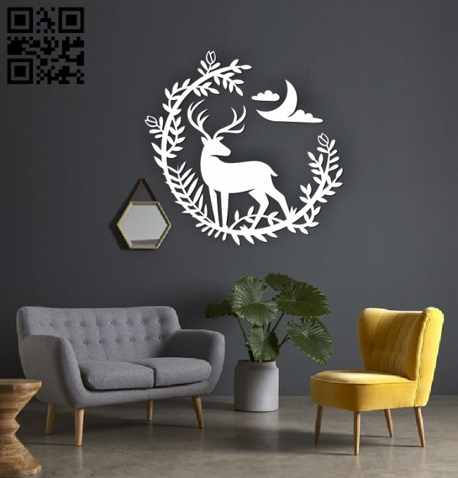 Deer and flower E0010520 file cdr and dxf free vector download for Laser cut
