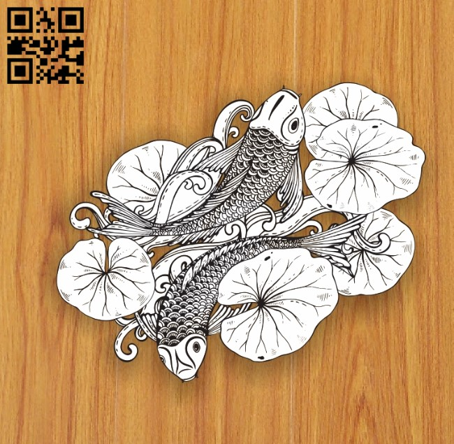 Double carp E0010552 file cdr and dxf free vector download for laser engraving machines