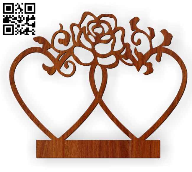 Double heart statue E0010560 file cdr and dxf free vector download for Laser cut